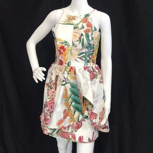 Cameo Botanical Print Dress with spaghetti straps